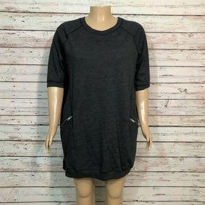 Ellos French Terry Zip Pocket Tunic Shirt Dress
